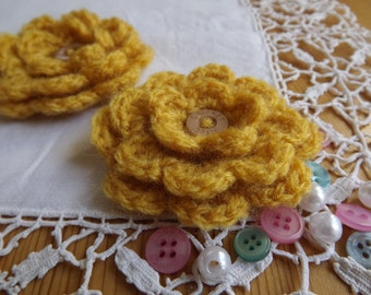 Crochet Flower Brooch. Mustard Flower Brooch Pin. Flower Corsage.