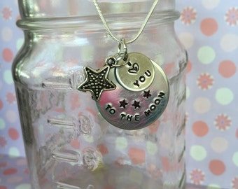 I love you to the moon, double pendant charm necklace