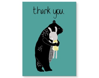 Bear & Rabbit Thank You Card