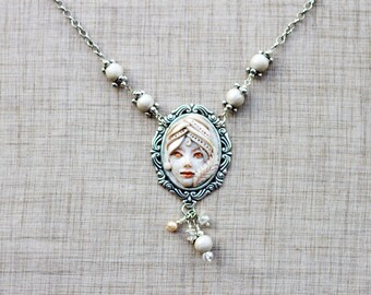 OOAK Polymer Clay Cameo, Hand Sculpted, Woman's Face pendant necklace. Item# 15052604