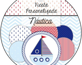 Printable Kit personalized Candy Bar + nautical boat NAUTICAL + full