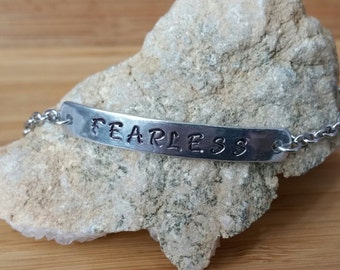 FEARLESS ID Bar Bracelet Custom Hand Stamped Aluminum Personalized