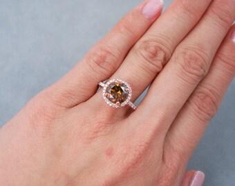 2.47 ctw Round Cut Diamond Ring Cognac/VS2 Clarity Enhanced Diamond Set In Rose Gold