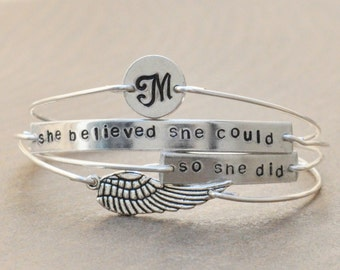 She believed she could, so she did - set of 4 wired stamped bangles with initial and wing charm