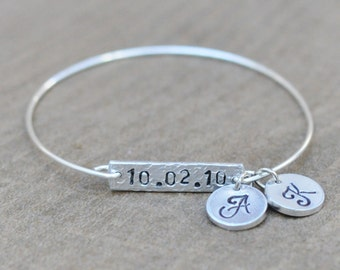 Personalized Anniversary Date Bracelets with 2 silver initial disks