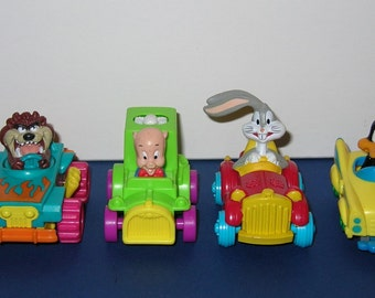 1992 McDonalds Warner Brothers Quack Up Cars Set of 4