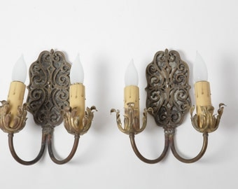 Pair 1920's Wrought Iron and Brass Double Sconces