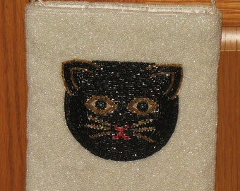 Vintage beaded cat purse