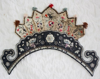 Antique Chinese Han embroidery front piece from old hat