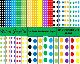 Polka Dot Digital Papers - 30 Sheets - Commercial and Personal Use- INSTANT DOWNLOAD!