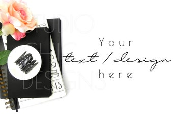Black and Pink Styled Stock Photography - Styled Desktop - 004a