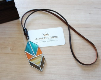 Ethnic stained glass necklace on leather cord, Tiffany teqnique, glass pendant