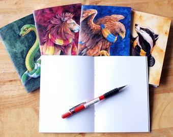 Hogwarts House  A6 notebooks: Hufflepuff, Gryffindor, Slytherin, Ravenclaw