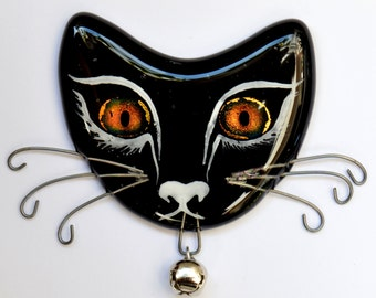 Fused Glass Cat Face Fridge Magnet, with Dichroic Glass Eyes – Type 02