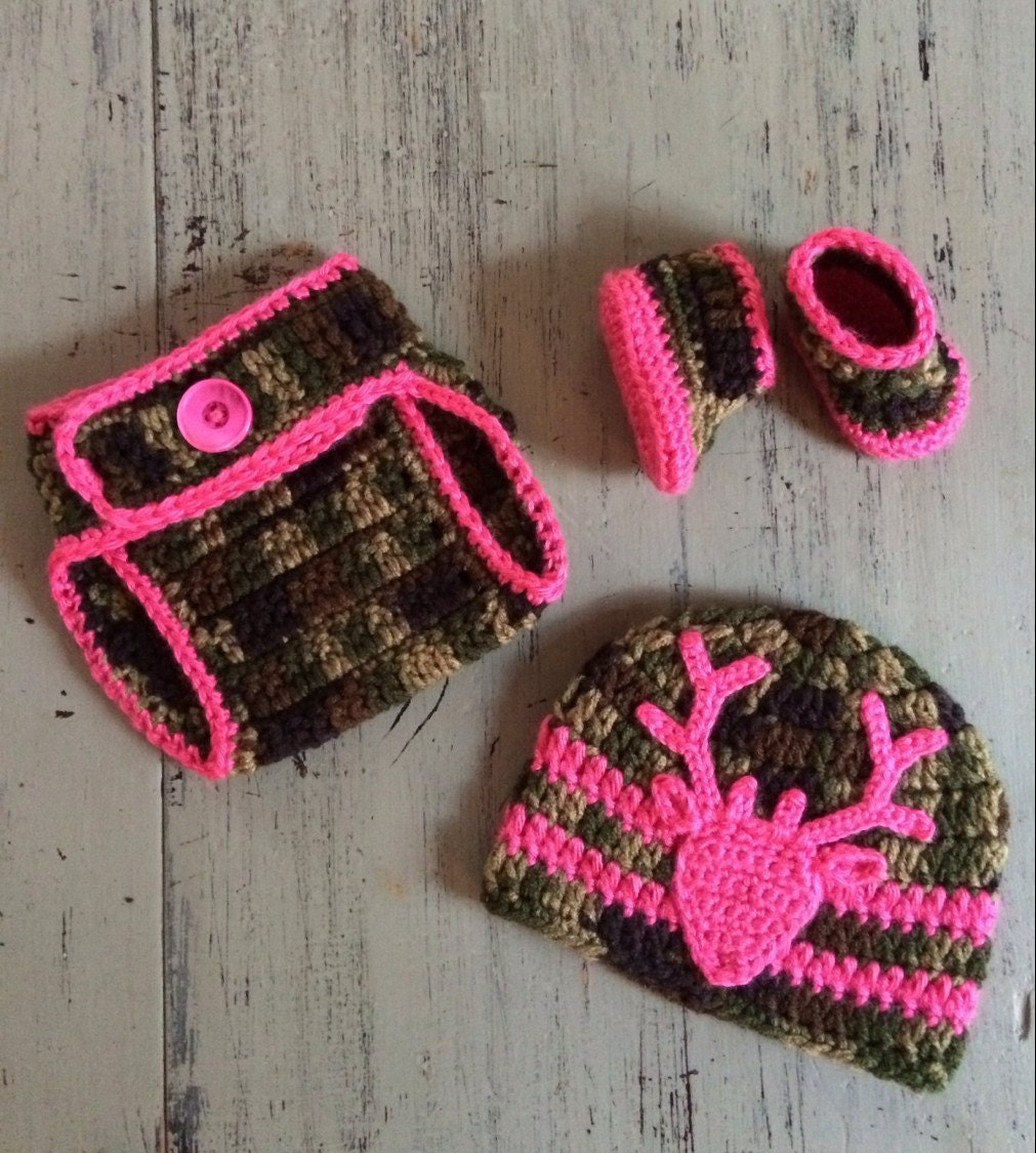 Crochet Baby Hunting Hat Pattern : Newborn Crochet Camo hat diaper cover and by ...