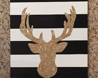 9x12 Gold Deer Sillouette Canvas