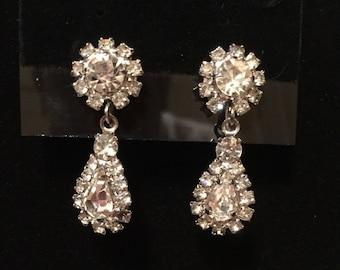 Vintage rhinestone teardrop earrings