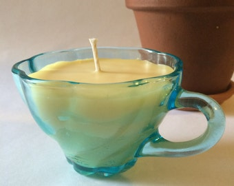 Blue Tea Cup Vanilla Scented Beeswax Candle