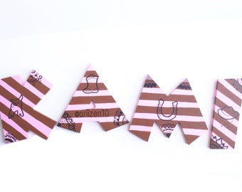 Painted wooden letters, wooden letter for wall, wooden letter for nursery, wooden letter for door, decorative wall letters, wooden letters
