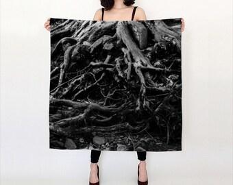Boho Fashion Scarf | Printed Silk Scarf | Tree Scarf | Black Scarf | Printed Scarf | Gifts For Her | Long Scarf | Gift for Girlfriend