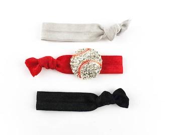 Baseball Hair Tie Set - 3 Rhinestone and Elastic Hair Ties that Double as Bracelets