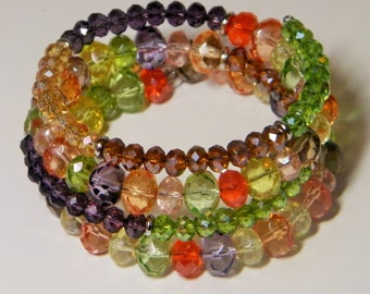 Memory Wire Beaded Wrap Bracelet with Crystal and Glass Beads, Multicolor Cuff Bracelet