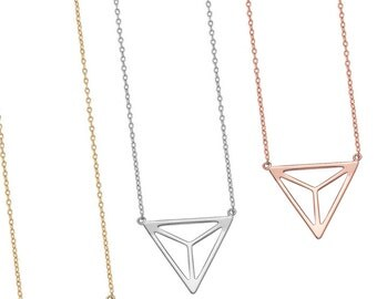 Sterling Silver Pyramid Necklace,Jewelry,Necklace,Charm Necklace,Diamond Gift,Women Necklace