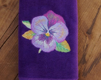 Watercolor Flowers - Fingertip Towel with Embroidered Pansy