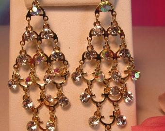 Aurora Borealis and Clear Rhinestone Chandelier Earrings    (#319)