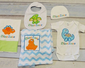 Dinosaur Adorable Dino Applique Personalized 5 piece baby set any colors