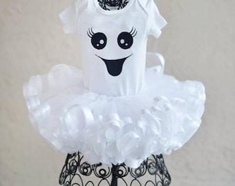 Adorable Ghost Halloween Fall Girls Tutu Set