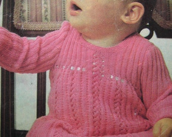 Baby Knitted Dress Vintage PDF Pattern