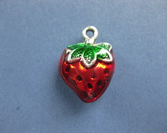 4 Strawberry Charms - Strawberry Pendants - Fruit Charm - Fruit Pendant - Enamel Charm - 20mm x 14mm -- (No.87-10827)