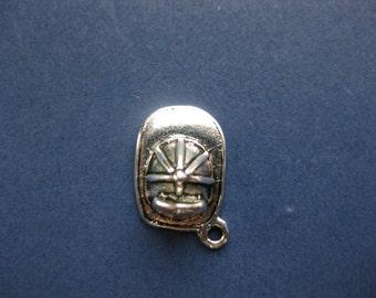 5 Fireman Helmet Charms - Fireman Helmet Pendant - Firefighter Charm - Fireman Hat - Fireman -  Antique Silver - 19mm x 15mm  -(No.61-10287)