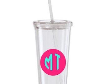 Circle monogram tumbler,personalized 16oz acrylic tumbler with lid and straw,Personalized Tumbler,Monogrammed Tumbler 16oz clear lid & straw