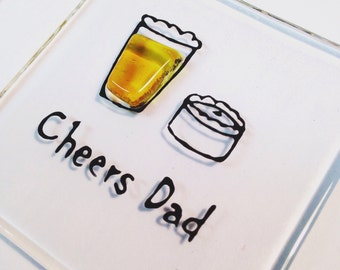 Fused glass 'cheers dad' fridge magnet. Wedding, birthday, fathers day thank you gift