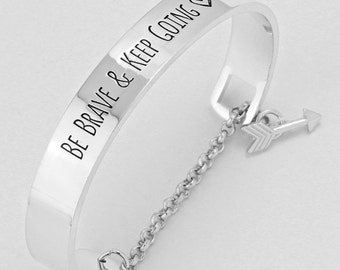 Be Brave and Keep Going Toggle Arrow Charm Bracelet