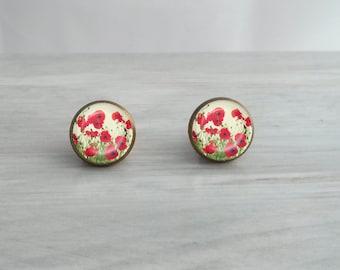 Red Poppy Flower Earrings - Choose Stud or Dangle!
