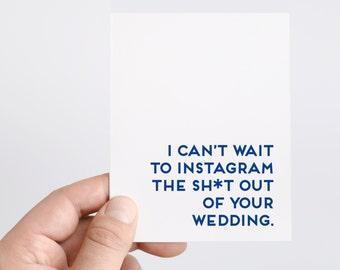Funny Wedding Card   Instagram   Wedding Hashtag   Funny Engagement Card   Funny Bridal Shower Card   Wedding Shower Card   Social Media