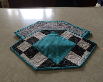 Black, white and aqua placemats