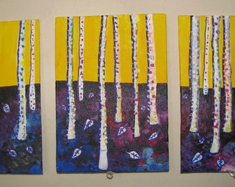 White trees, Acrylic Painting