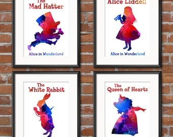 Ultimate Alice in Wonderland Watercolor Collection Print Painting The Mad Hatter Water Color Alice Watercolor Mad Hatter Nursery Art - 0224