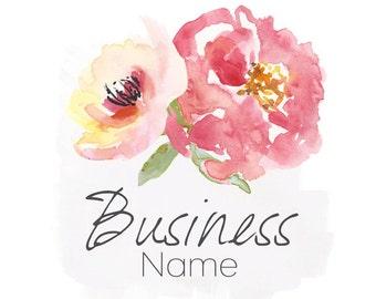 Premade Logo, Custom Business Logo, Flower Logo, Craft Logo, Watercolor Logo Design, Paint Logo, Pretty logo, Pink Flower logo, premade logo