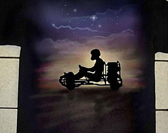 Airbrushed Go Kart Racing T-shirt Karting Go Cart in all sizes