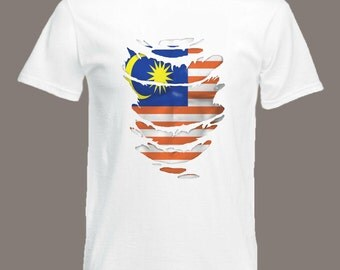 Malaysian Flag T-Shirt See Muscles through Ripped T-Shirt Malaysia in all sizes