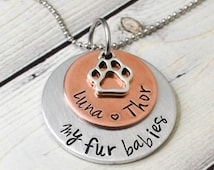 Personalized Pet Lover Necklace - Dog Necklace - Cat Necklace - Pet Necklace - Personalized Jewelry -  Hand Stamped Jewelry - Dog Lover
