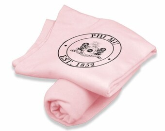 Phi Mu Light Pink Sweatshirt Blanket - Black Print