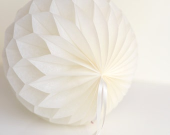 Ivory Tissue paper honeycombs -  hanging wedding party decorations