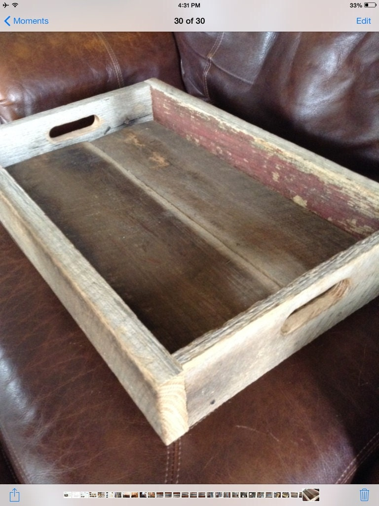 reclaimed barn wood tray w handles discounted price