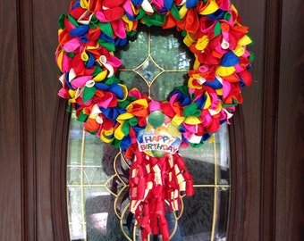 Happy Birthday wreath.  Balloon wreath.